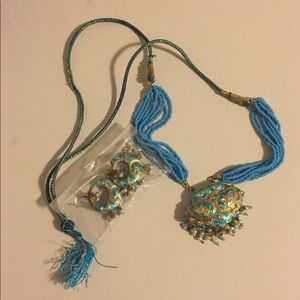 Jewelry - Indian turquoise necklace and earring set